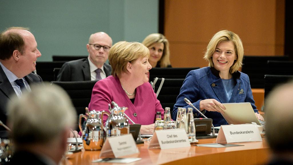Klöckner und Merkel beim Agrargipfel
